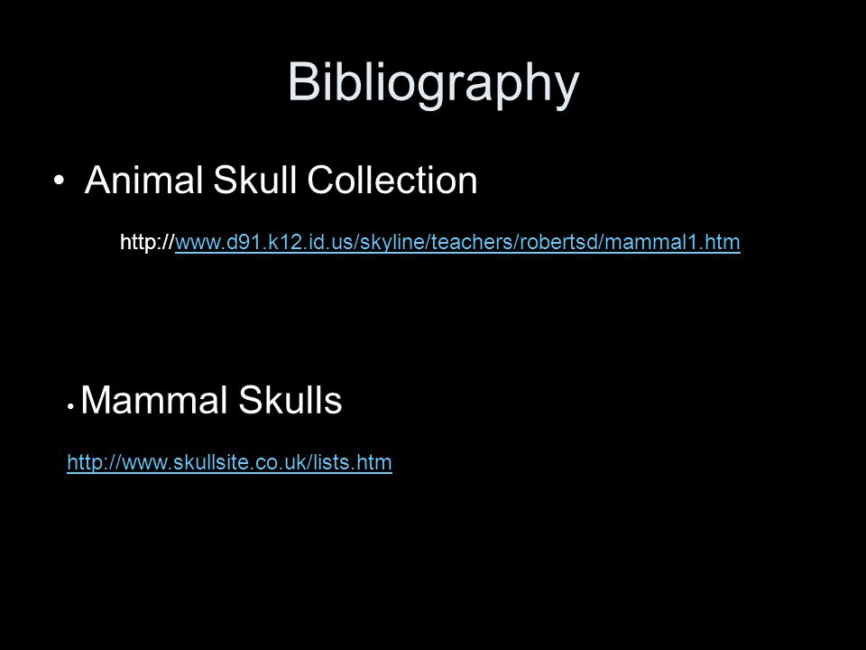 Bibliography Animal Skull Collection