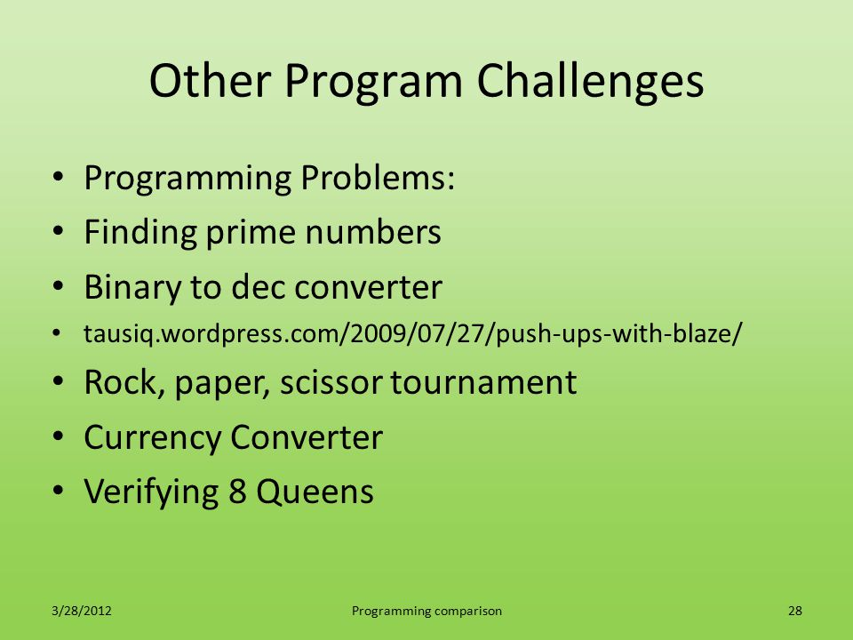 Other Program Challenges