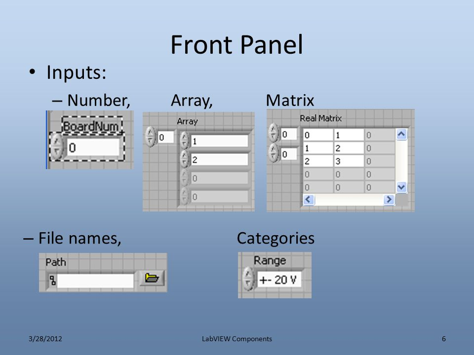 Front Panel Inputs: Number, Array, Matrix File names, Categories