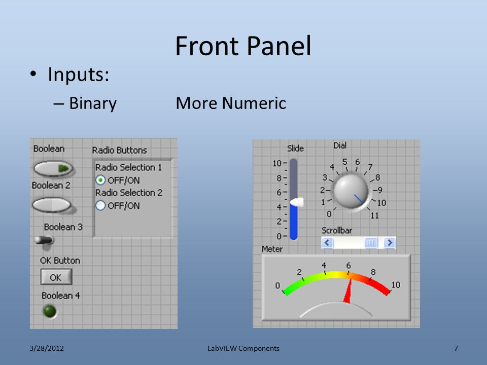 Front Panel Inputs: Binary More Numeric 3/28/2012 LabVIEW Components