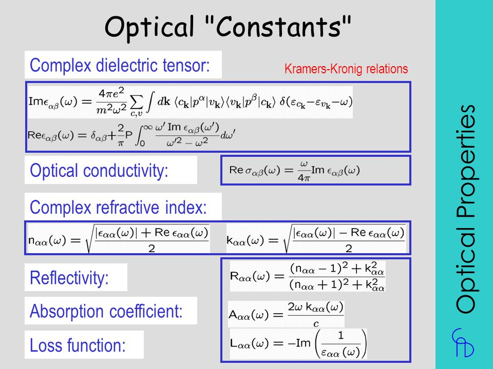 Optical Constants Optical Properties Complex dielectric tensor: