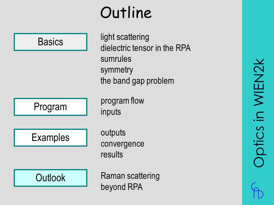 Outline Optics in WIEN2k Basics Program Examples Outlook