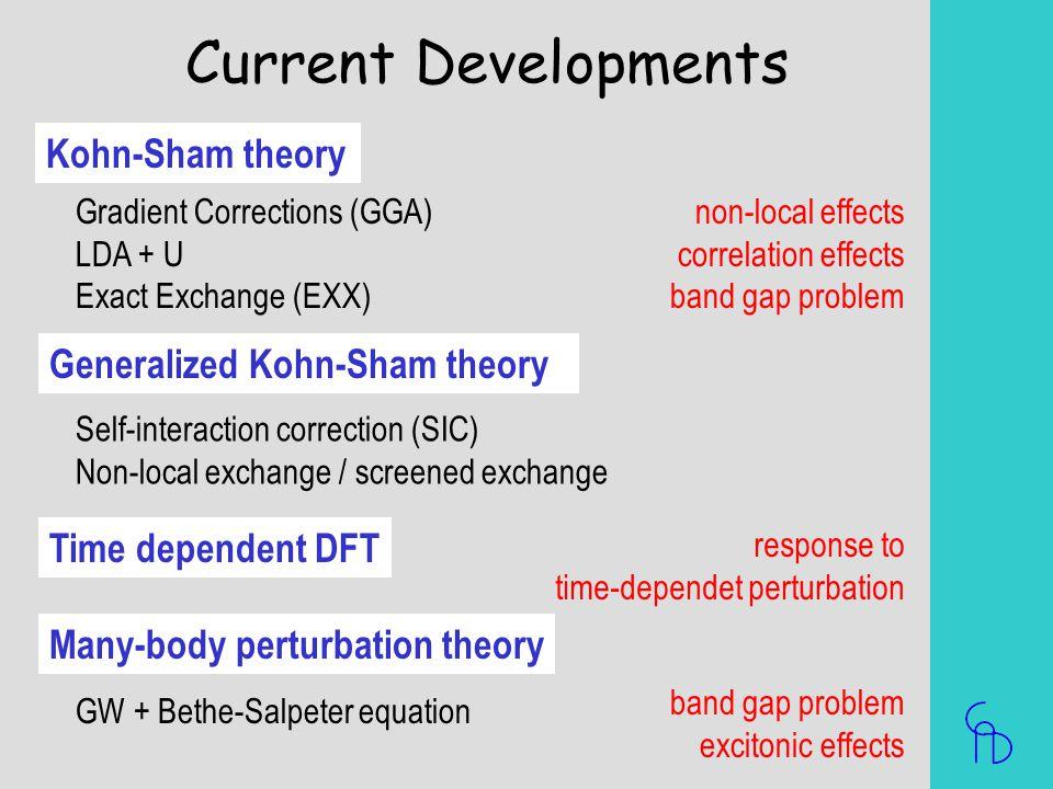 Current Developments Kohn-Sham theory Generalized Kohn-Sham theory