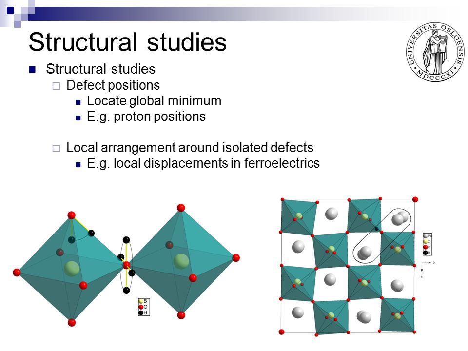 Structural studies Structural studies Defect positions