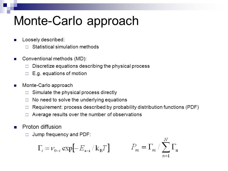 Monte-Carlo approach Proton diffusion Loosely described: