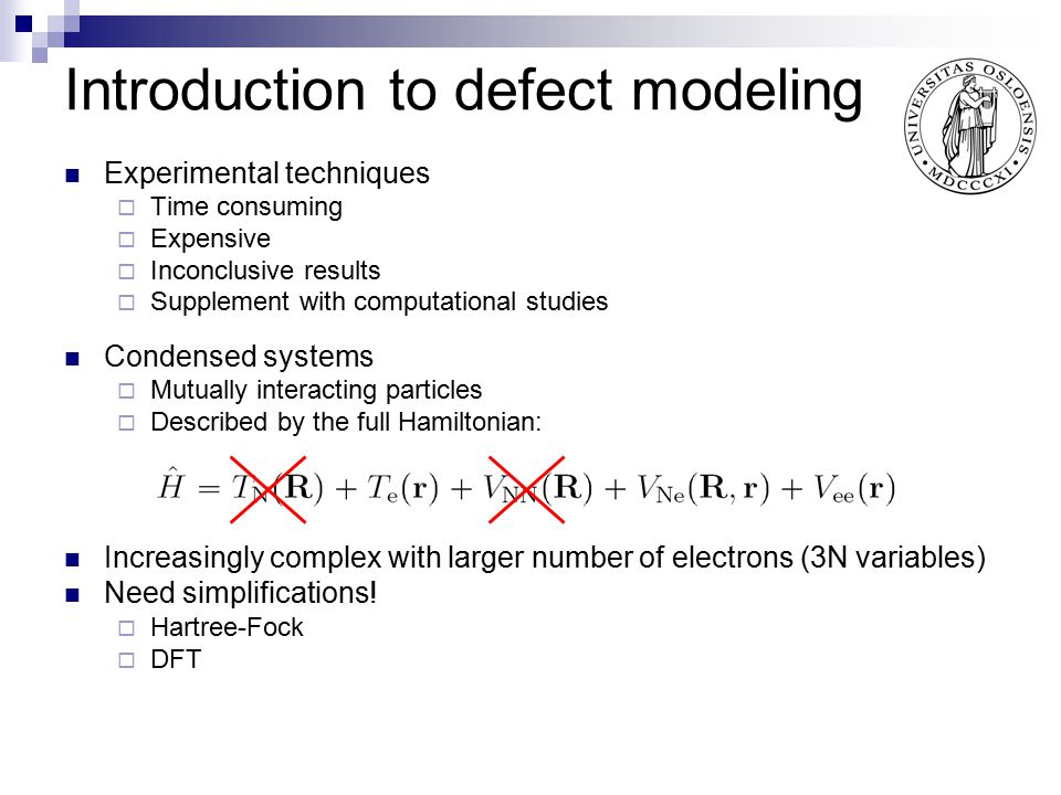 Introduction to defect modeling
