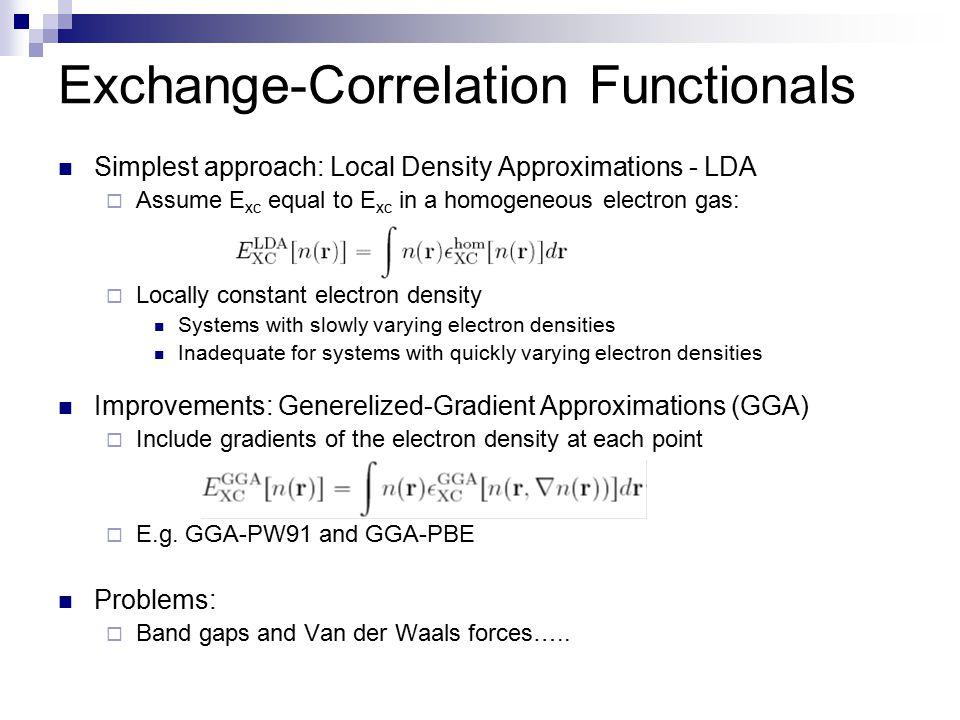 Exchange-Correlation Functionals