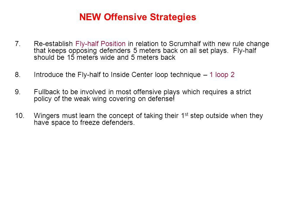 NEW Offensive Strategies
