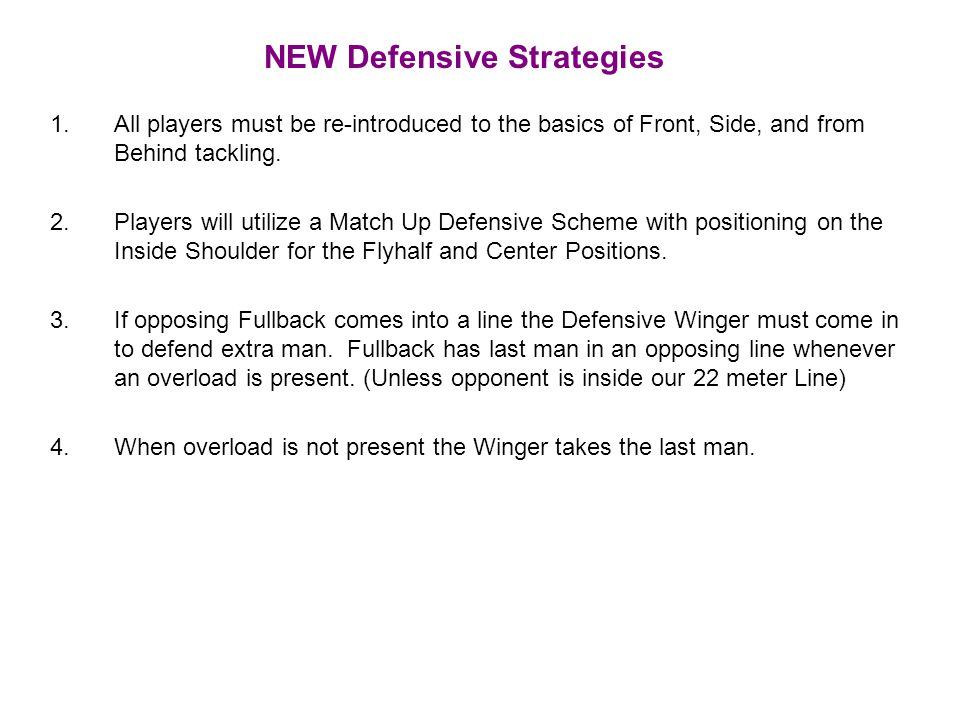 NEW Defensive Strategies