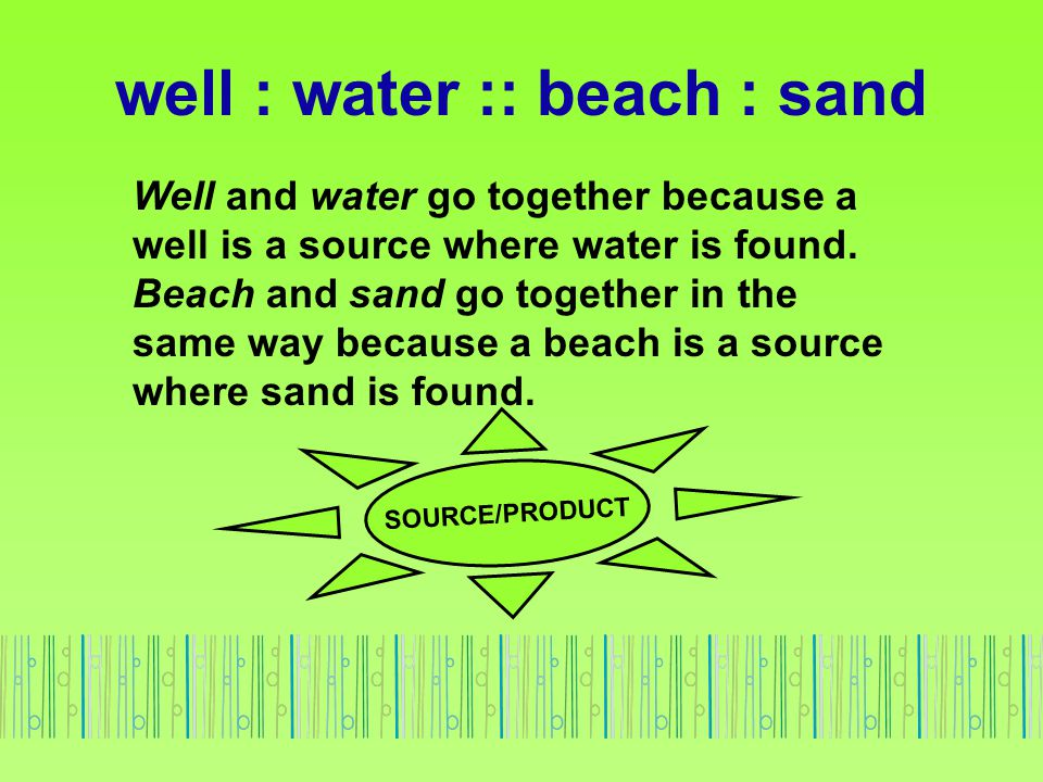 well : water :: beach : sand