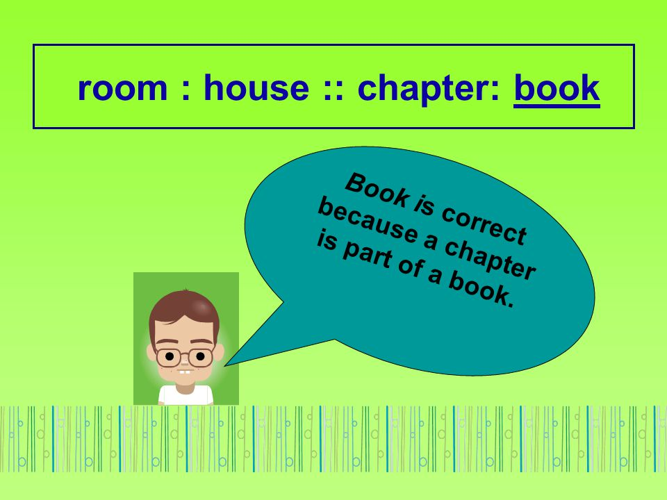 room : house :: chapter: book