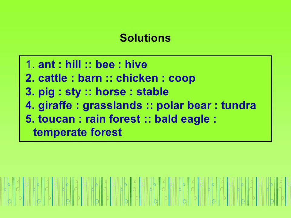 Solutions 1. ant : hill :: bee : hive. 2. cattle : barn :: chicken : coop. 3. pig : sty :: horse : stable.