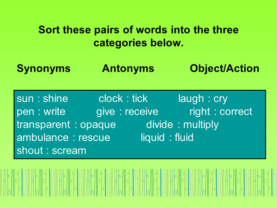 Sort these pairs of words into the three categories below.