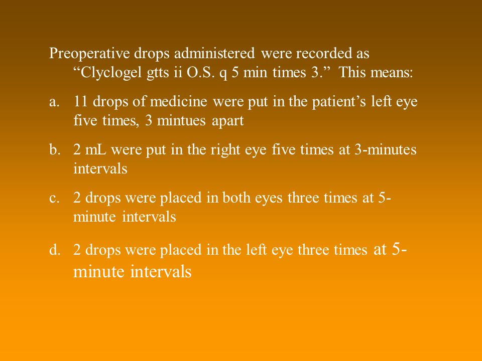 2 mL were put in the right eye five times at 3-minutes intervals