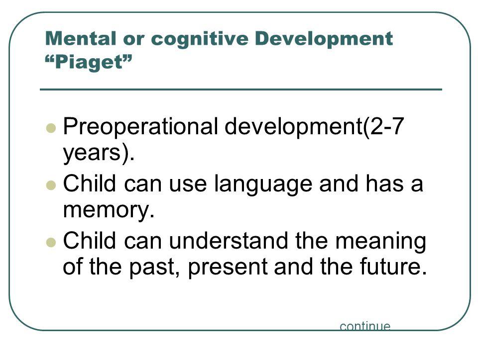 Mental or cognitive Development Piaget