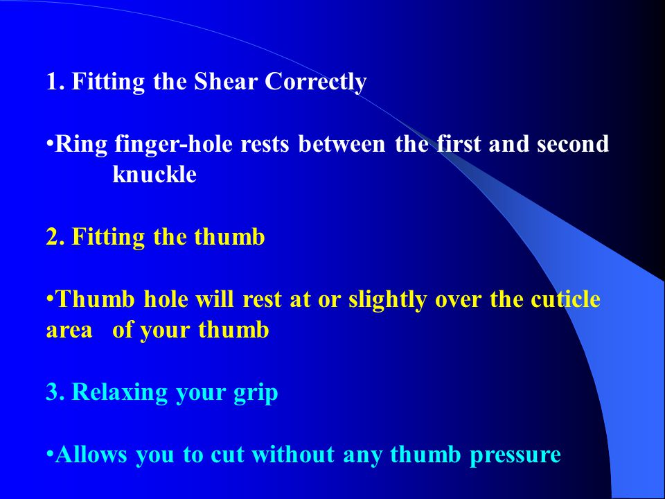 1. Fitting the Shear Correctly