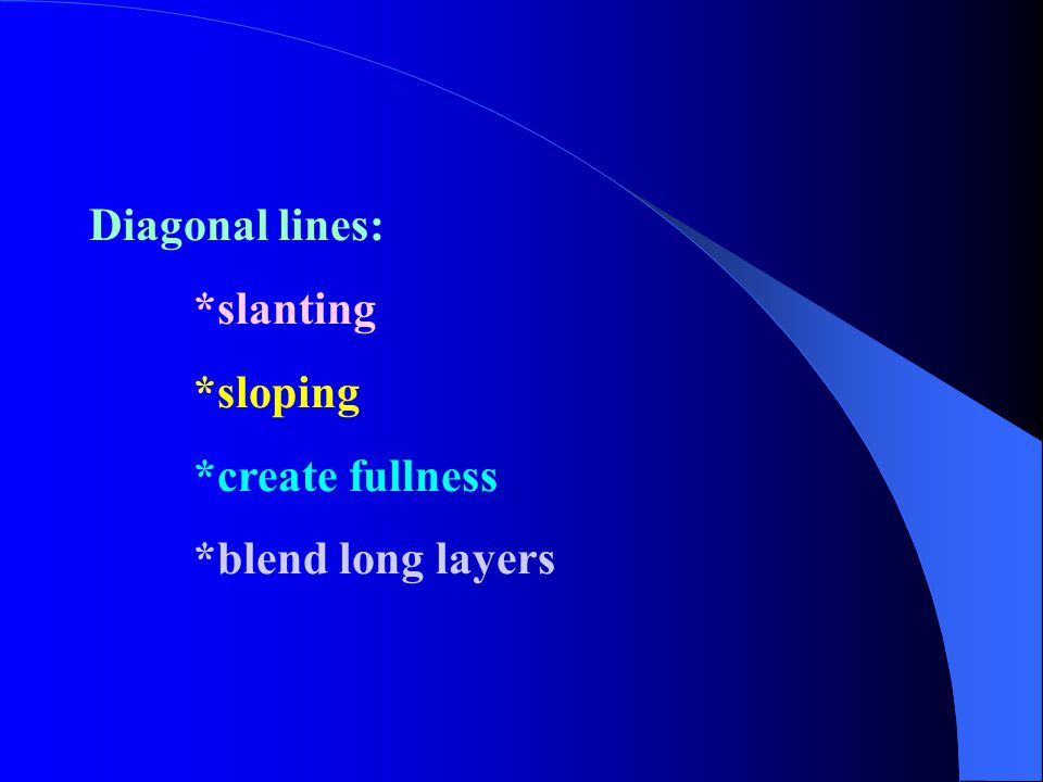 Diagonal lines: *slanting *sloping *create fullness *blend long layers