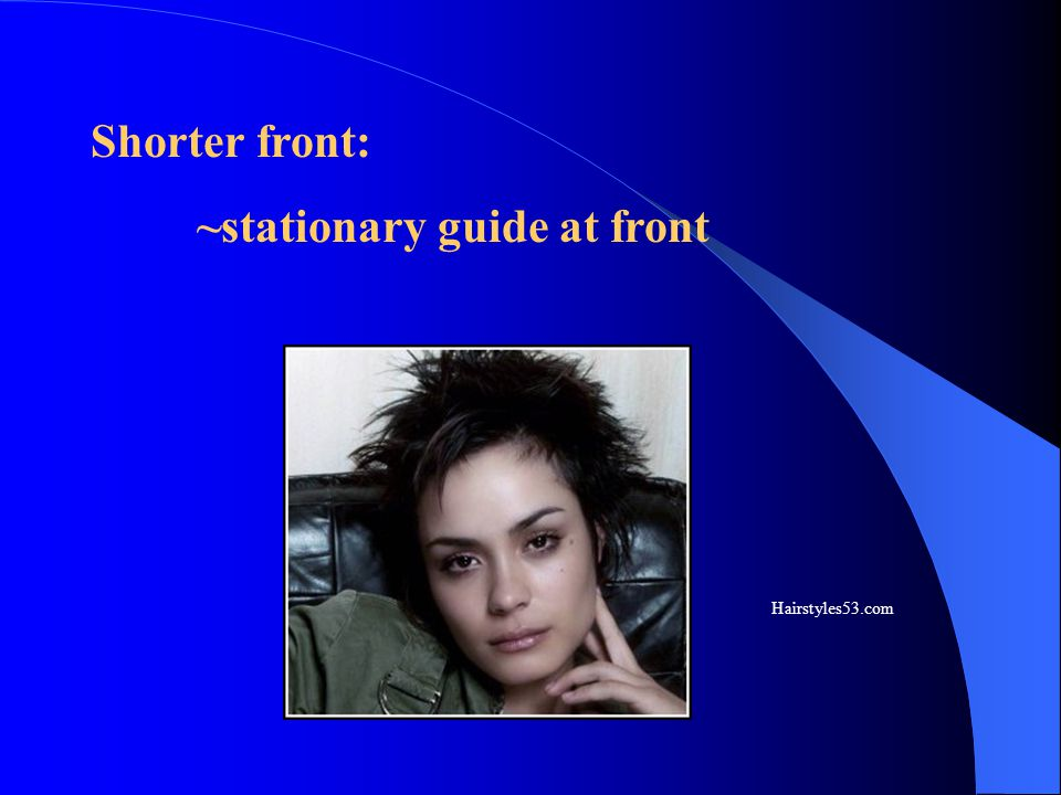 ~stationary guide at front
