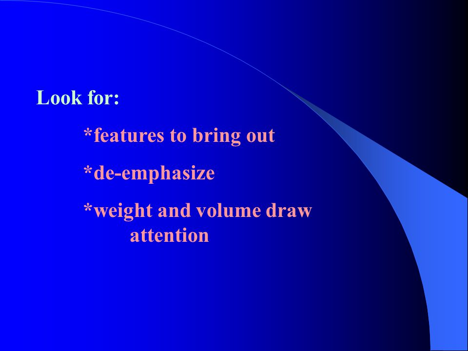 Look for: *features to bring out *de-emphasize *weight and volume draw attention