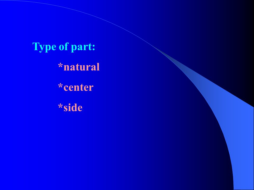 Type of part: *natural *center *side
