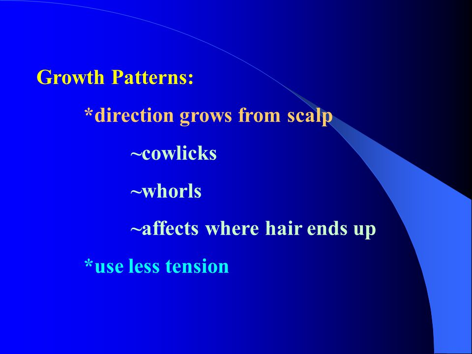 Growth Patterns: *direction grows from scalp. ~cowlicks.