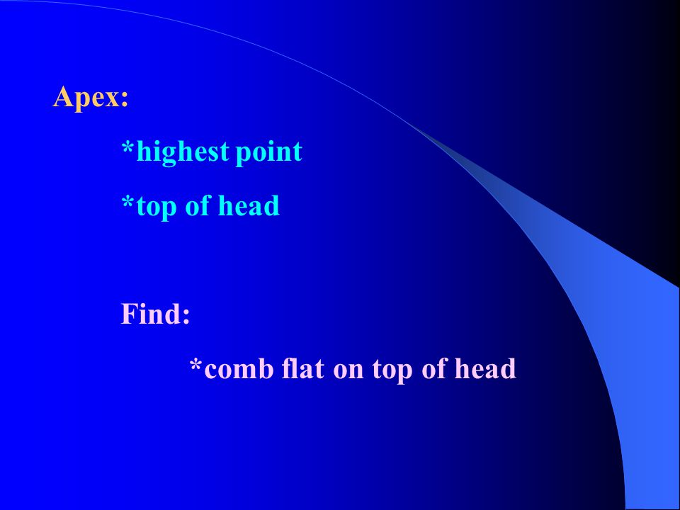 Apex: *highest point *top of head Find: *comb flat on top of head