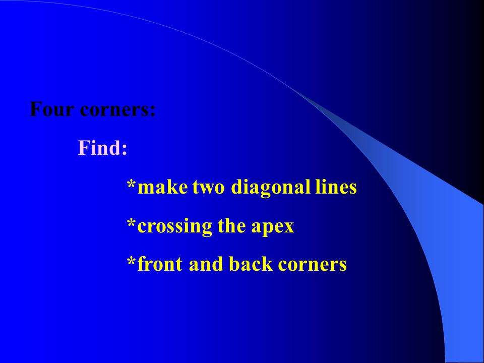 Four corners: Find: *make two diagonal lines *crossing the apex *front and back corners