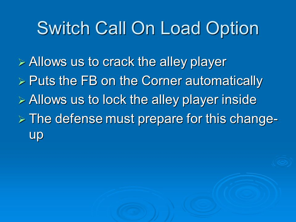 Switch Call On Load Option