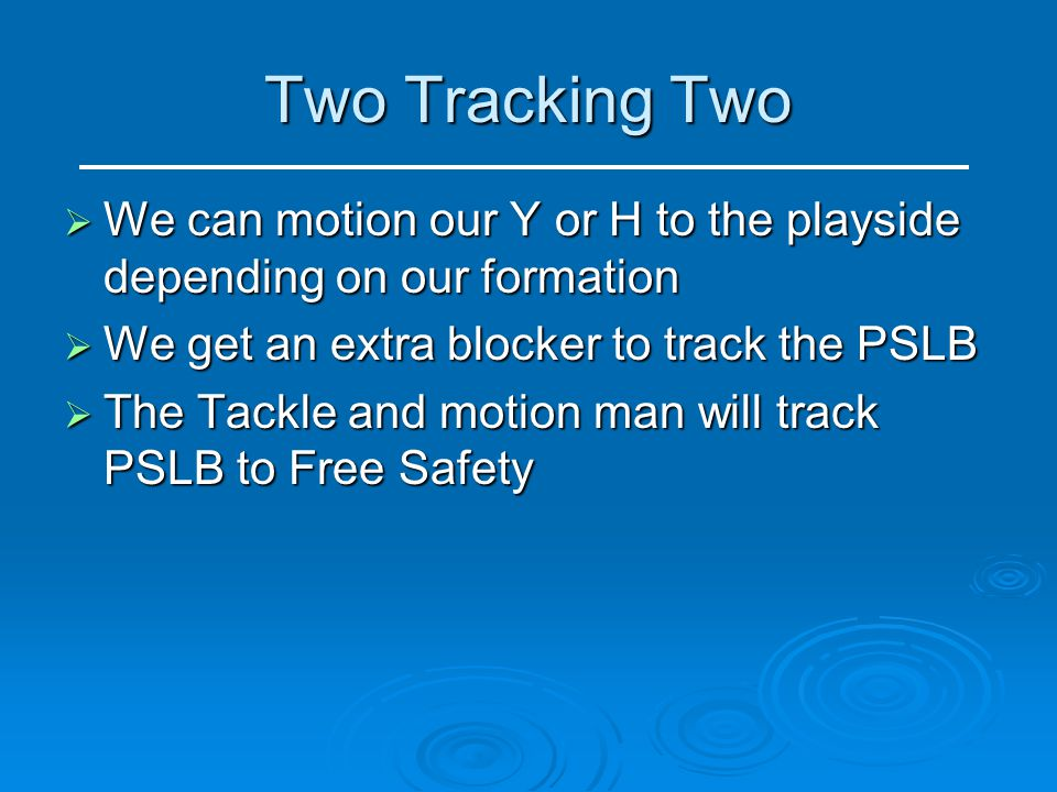 Two Tracking Two We can motion our Y or H to the playside depending on our formation. We get an extra blocker to track the PSLB.