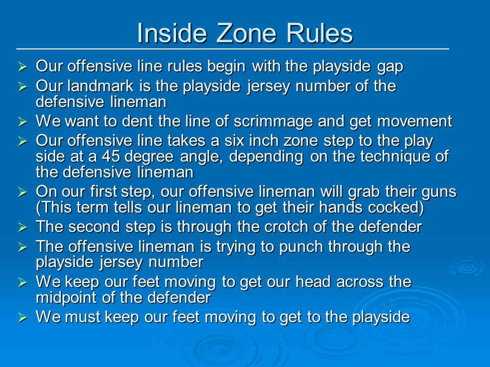 Inside Zone Rules Our offensive line rules begin with the playside gap