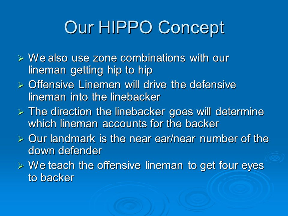 Our HIPPO Concept We also use zone combinations with our lineman getting hip to hip.