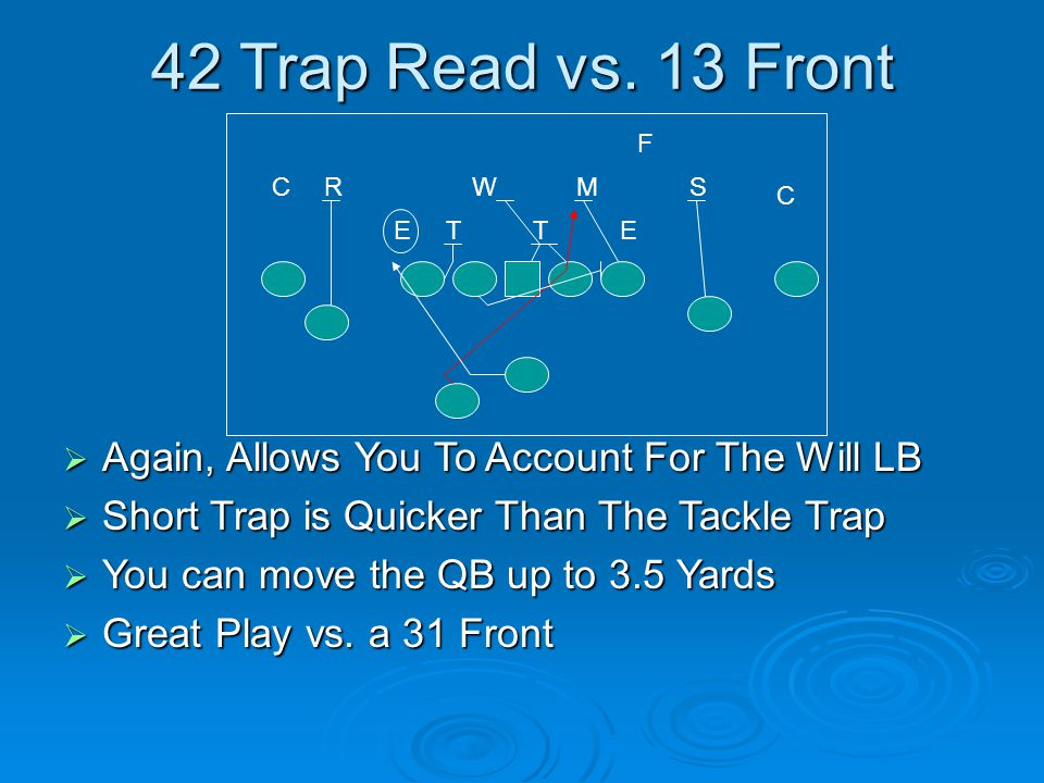 42 Trap Read vs. 13 Front Again, Allows You To Account For The Will LB