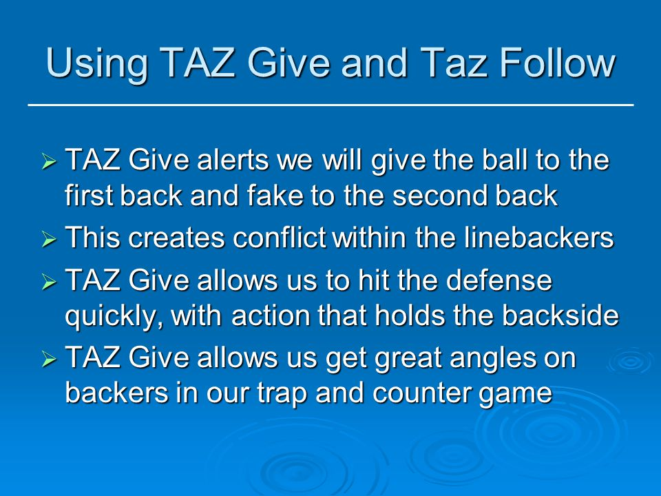 Using TAZ Give and Taz Follow