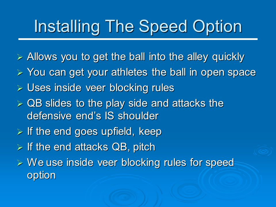 Installing The Speed Option