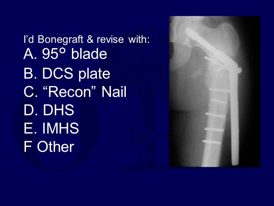 I'd Bonegraft & revise with: A. 95° blade B. DCS plate C