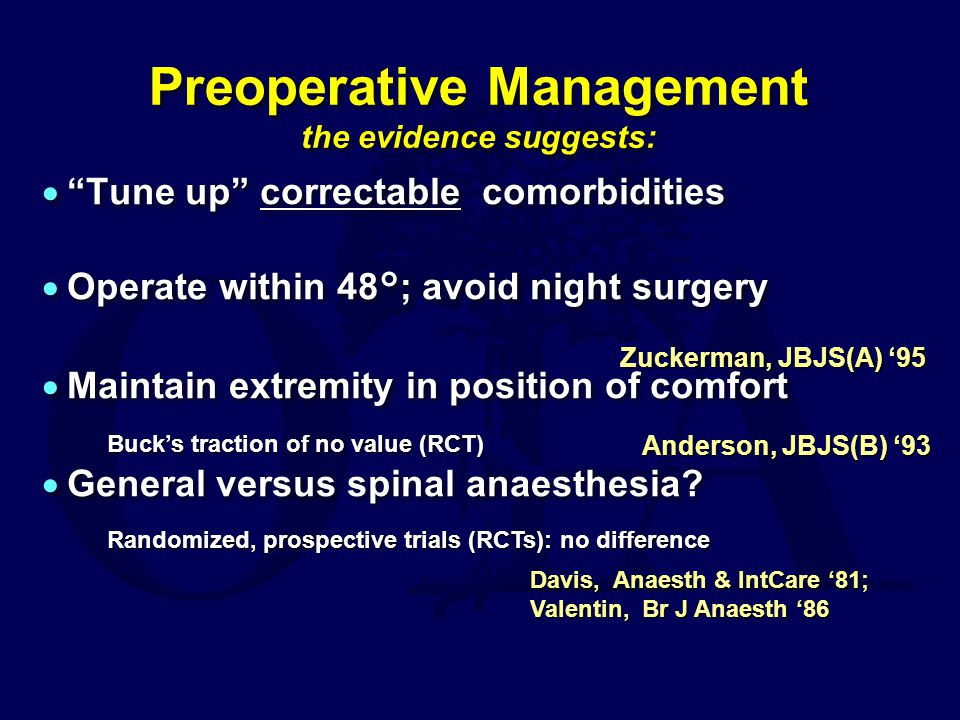 Preoperative Management the evidence suggests:
