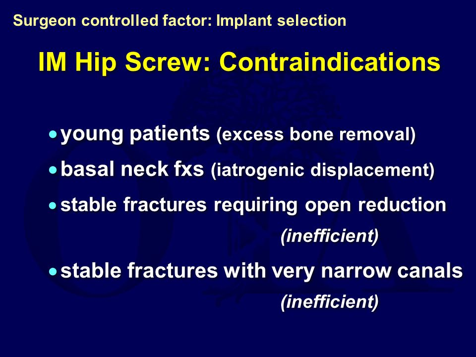 IM Hip Screw: Contraindications