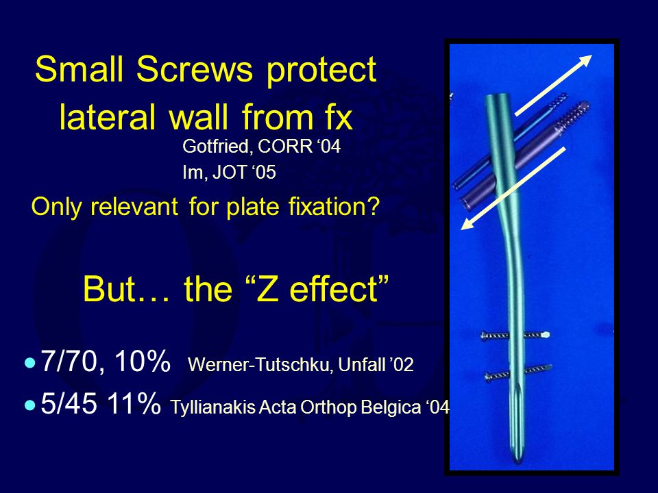 But… the Z effect 7/70, 10% Werner-Tutschku, Unfall '02. 5/45 11% Tyllianakis Acta Orthop Belgica '04.