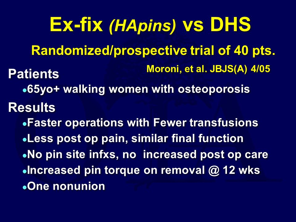 Ex-fix (HApins) vs DHS Randomized/prospective trial of 40 pts