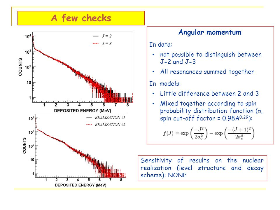 A few checks Angular momentum In data: