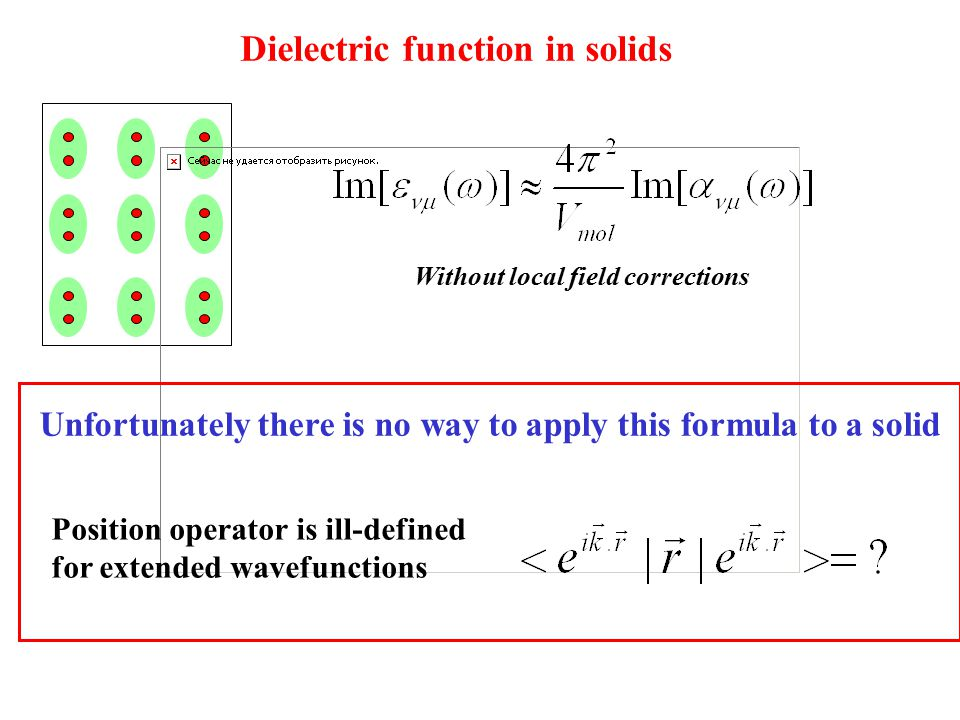Dielectric function in solids