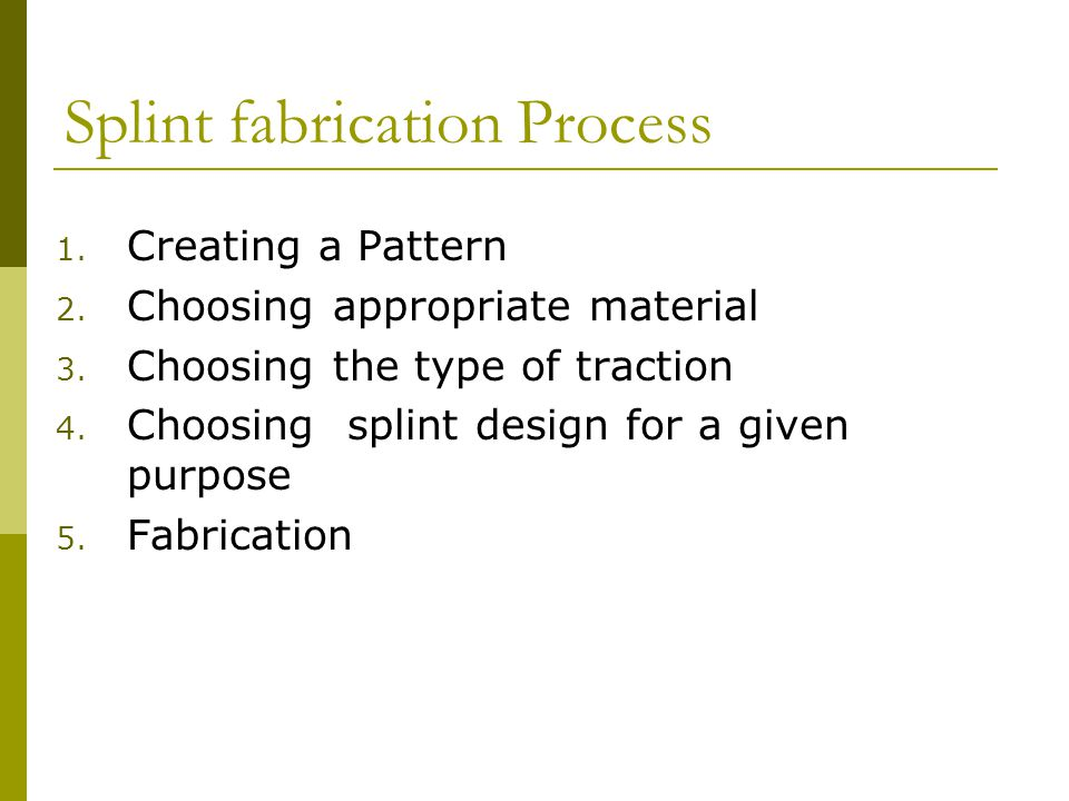 Splint fabrication Process