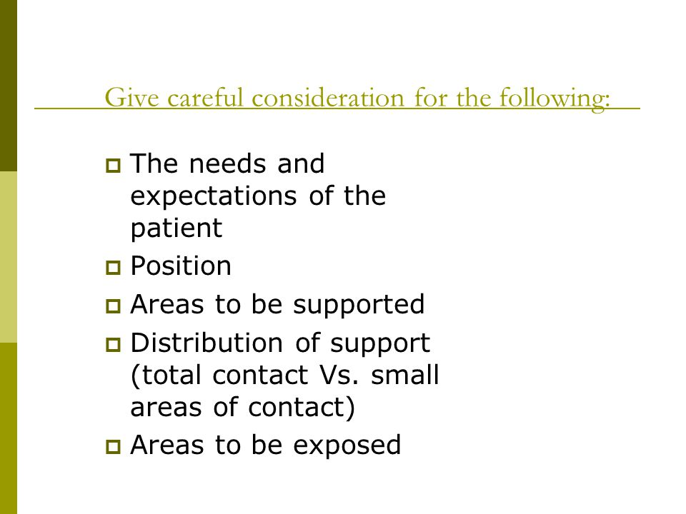 Give careful consideration for the following: