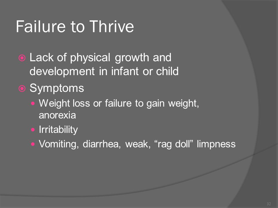 Failure to Thrive Lack of physical growth and development in infant or child. Symptoms. Weight loss or failure to gain weight, anorexia.