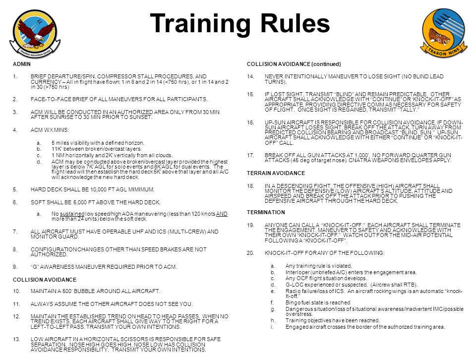 Training Rules ADMIN.