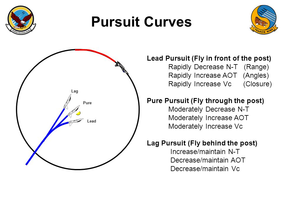 Pursuit Curves Lead Pursuit (Fly in front of the post)