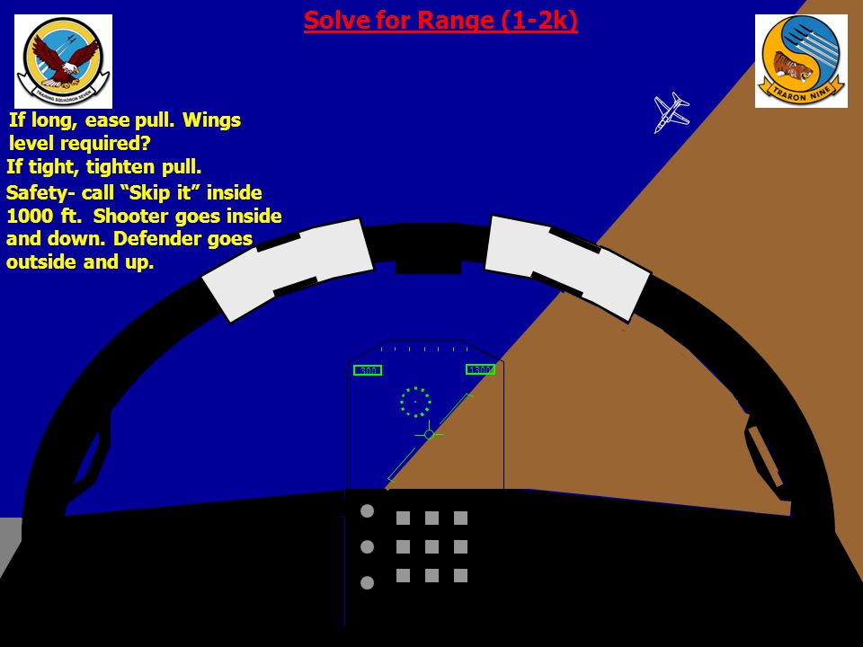Solve for Range (1-2k) If long, ease pull. Wings level required