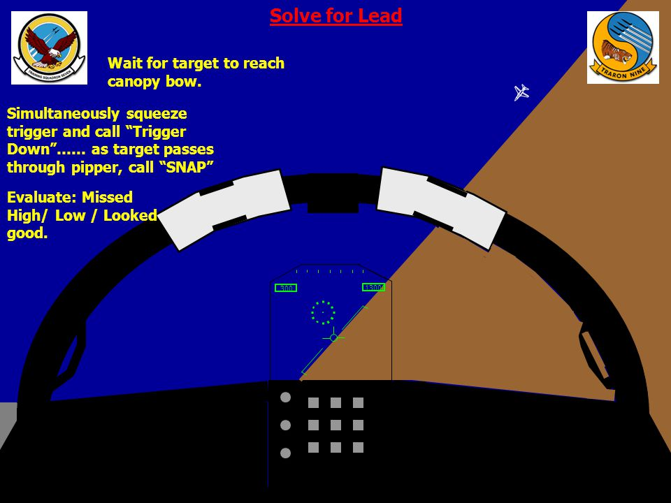Solve for Lead Wait for target to reach canopy bow.
