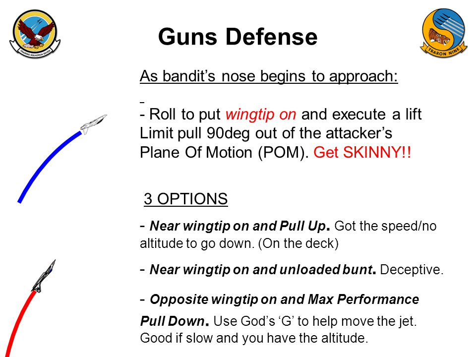 Guns Defense As bandit's nose begins to approach: