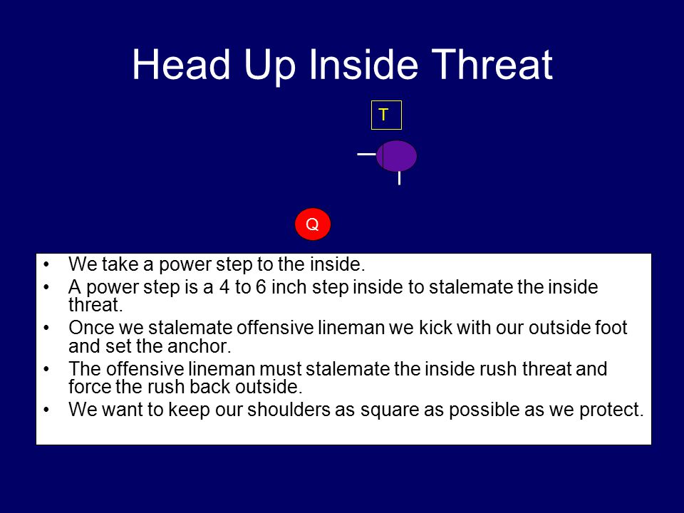 Head Up Inside Threat We take a power step to the inside.